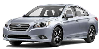 A light gray Subaru Legacy