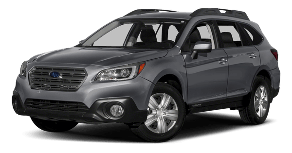 A dark gray Subaru Outback